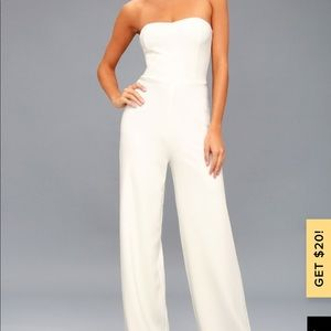 Lulu's Edith White Strapless Jumpsuit
